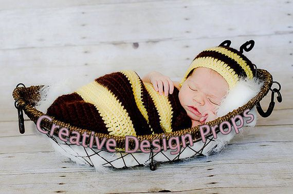Cocoon and Hat - Bumble Bee costume set - newborn outfit - photo prop or gift for baby shower on Etsy, $30.00