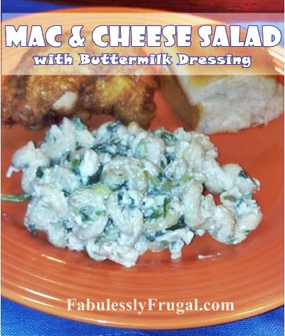 Mac and Cheese Salad with Buttermilk Dressing: Salad Sid Dishes, Cheese Salad, Mac Cheese, Delicious Twists, Mac N Cheese, Salad Dresses, Macaroni Salads, Chee Salad, Mac And Cheese
