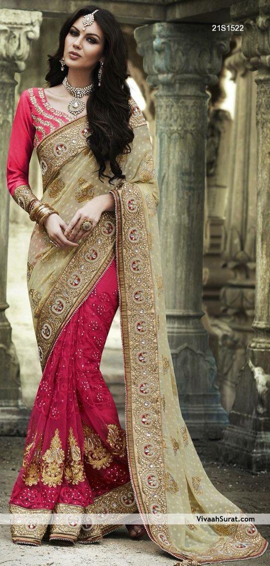 Pink Beige Sari