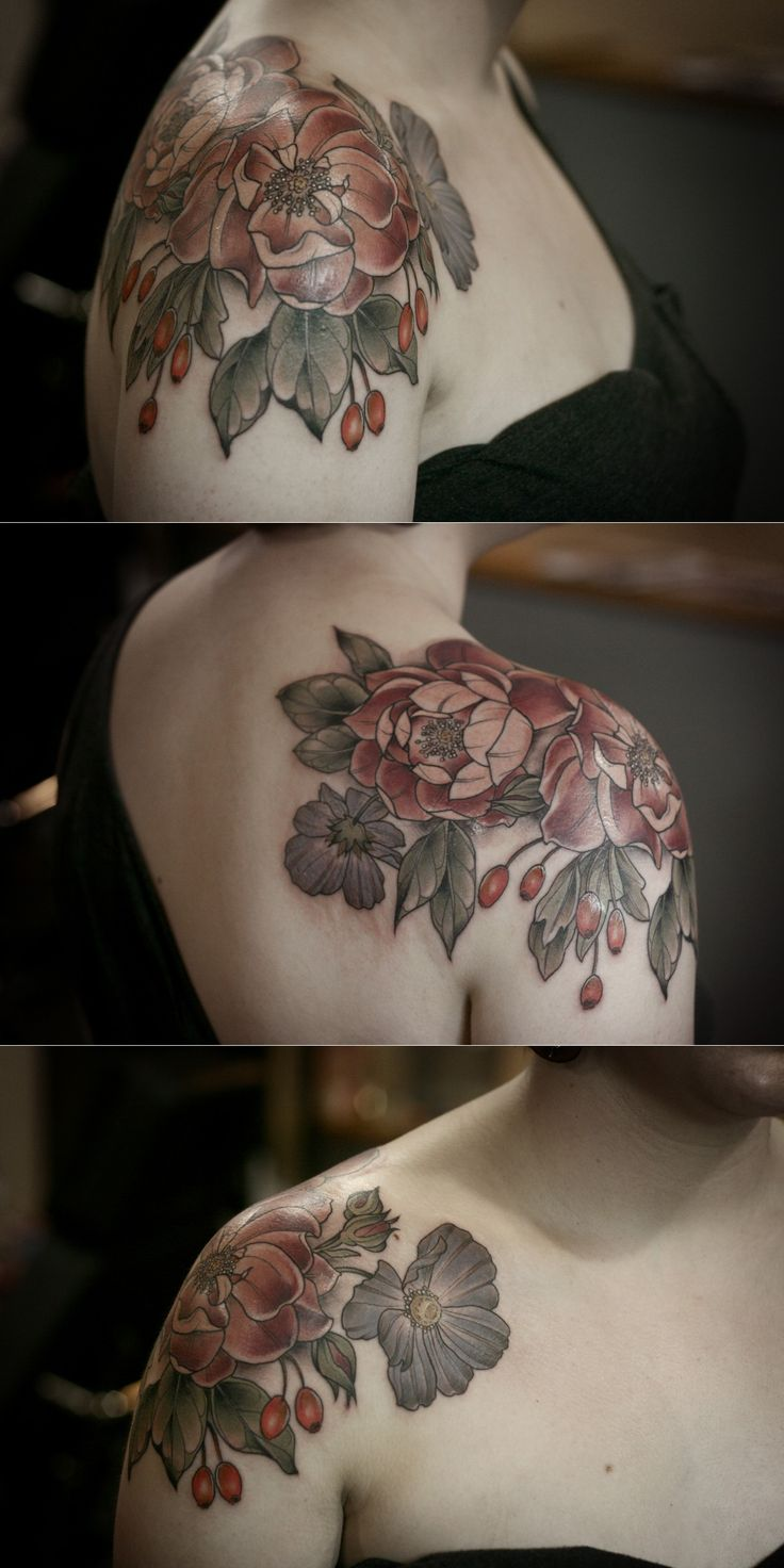 Cardinal Hume roses, hawthorn berries, and cosmos flowers by Kristen Holliday @ Wonderland Tattoo in Portland, OR. http://wonderlandtattoospdx.wordpress.com/artists/kirsten-holliday/