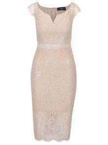 Svetloružové čipkované šaty AX Paris