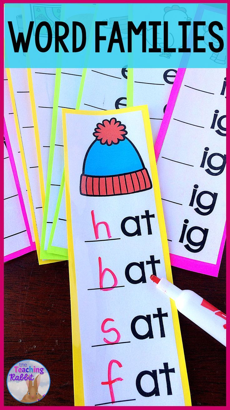 Use these Word Families Strips at your Word Work Literacy Center. Laminate this fun activity and have your first grade students use the strips with dry erase markers to make both short and long vowel word families. It comes with the following 30 word families: at, ap, an, ed, est, en, ish, in, ig, og, ot, op, un, um, ug, ake, ame, ain, eep, ee, eat, ice, ine, ite, one, oat, ose, ue, ute, une. #wordfamilies