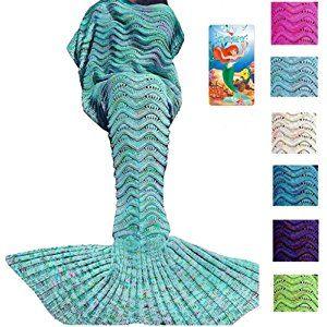 DDMY Mermaid Tail Blanket For Kids Teens Adult Handmade Wave Mermaid Blankets Crochet Knitting Blanket Seasons Warm Soft Living Room Sleeping Bag Best Birthday Christmas gift 74''x35'' Mint Green
