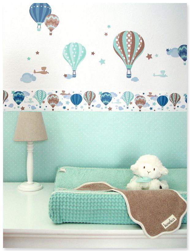Heissluftballons Boys Taupe Mint Selbstklebende Kinderzimmer Bordure