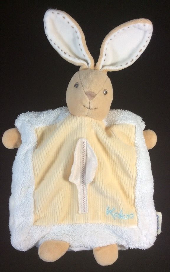Kaloo Bunny Rabbit Comforter Puppet Baby Security Blanket Yellow Beige Cream #Kaloo