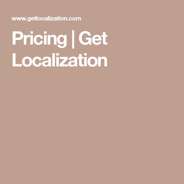 Pricing | Get Localization