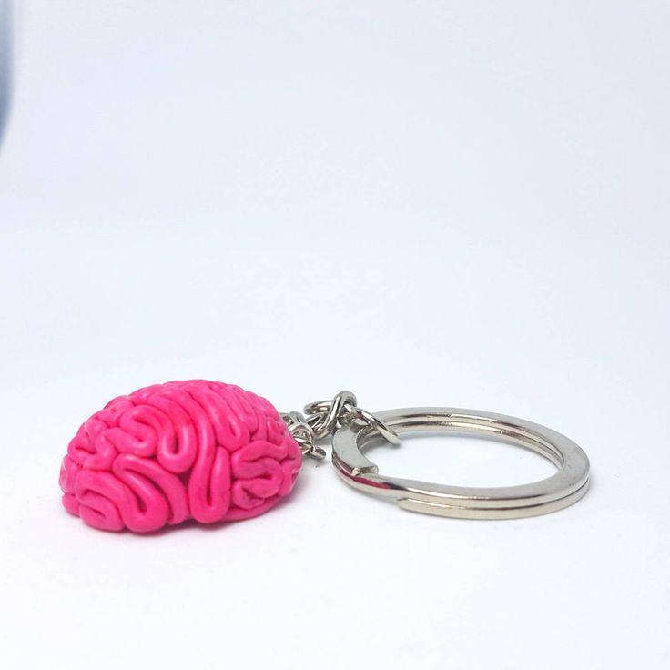Brain Keychain, Polymer clay Brain pendant, Zombie Brain, Zombie keychain, Halloween accessories, Human brain keychain, Halloween Keychain #myfimo #bystellakyriakou #etsy #polymerclayjewelry #handmade #handmadejewelry #accessories #keychain #pink #halloween #brainkeychain #zombiebrain #zombiekeychain #humanbrainkeychain #3dbraincharm http://etsy.me/2FngVdx