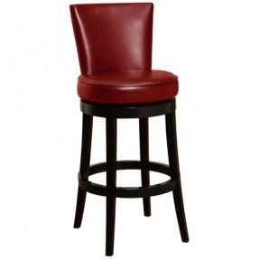 "Boston 30"" High Red Leather Swivel Bar Stool"