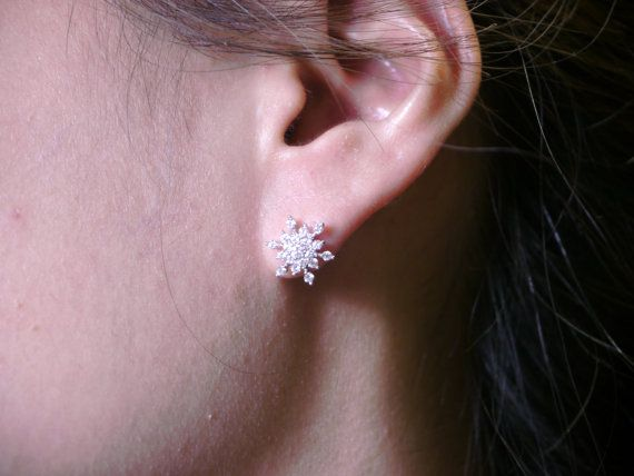 Snowflake Piercing 16 gauge earring tragus by SmallTalkJewelry