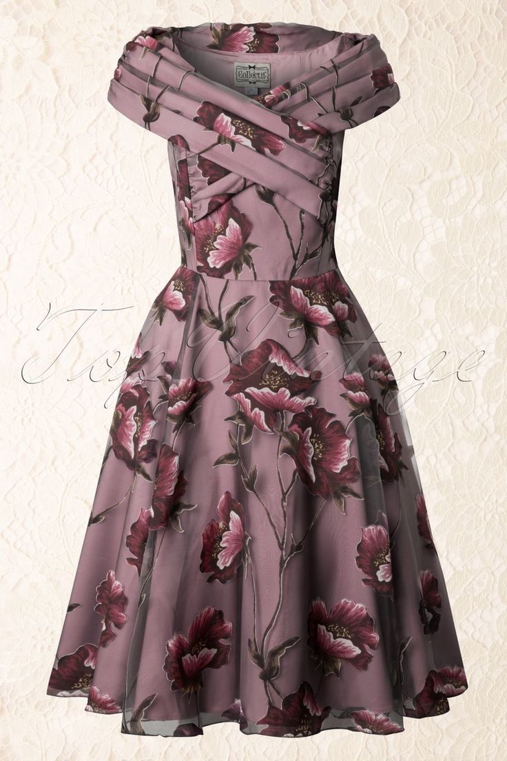 50s Dorothy Tulle Winter Floral Swing Dress Mauve
