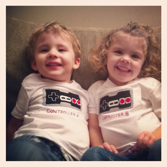 Nintendo Old School NES game controller A and B TWINTEES (t-shirts for Twins or siblings) Great way to celebrate a 2nd birth