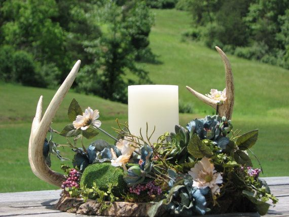 Camo Wedding Centerpiece - Real Deer Antler Centerpiece - Made to Order Centerpiece using real deer antlers, candles, silk flowers and more
