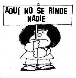 Mafalda le gusta la politica y luchando para los derechos de los niños.