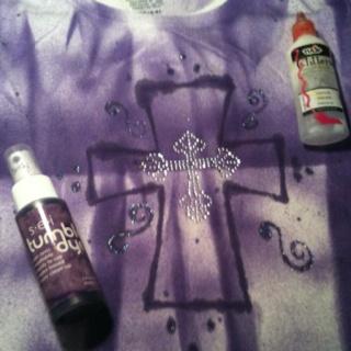 White Tshirt + tumble dye + rhinestone cross appliqué.