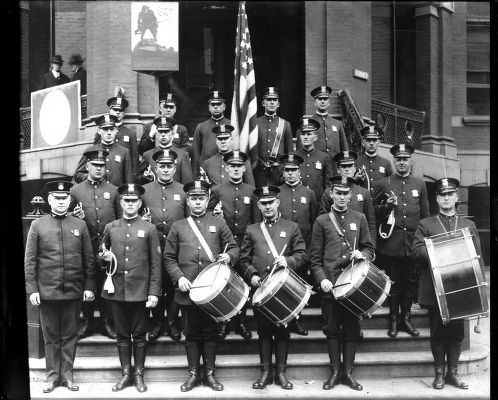 Detroit Police Department drum and bugle corps. Date unknown. (Burton Historical Col.)