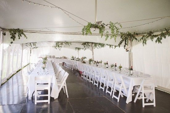 Marquee for wedding with greenery