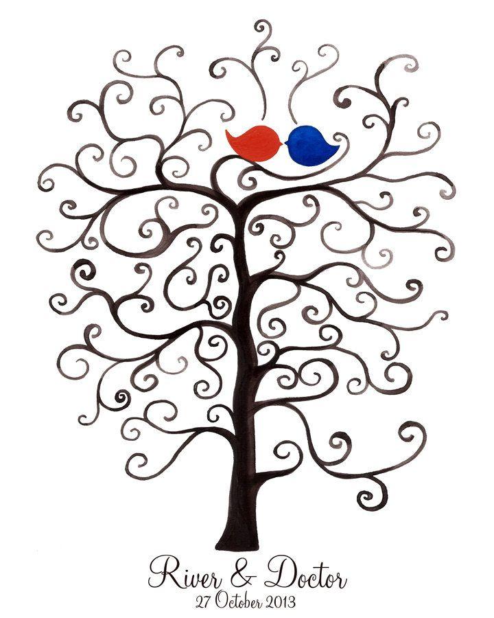 Fingerprint Wedding Tree, Custom Wedding Guest Book alternative,  thumbprint ready. $45.00, via Etsy.