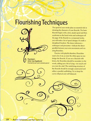 Craftside: Tips on flourishing techniques from the book Modern Calligraphy and Hand Lettering by Lisa Engelbrecht