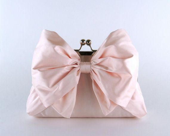 EllenVintage Silk Bow Clutch in Soft Pink, wedding clutch, wedding bag, bridesmaid clutch, Bridal clutch on Etsy, $78.00