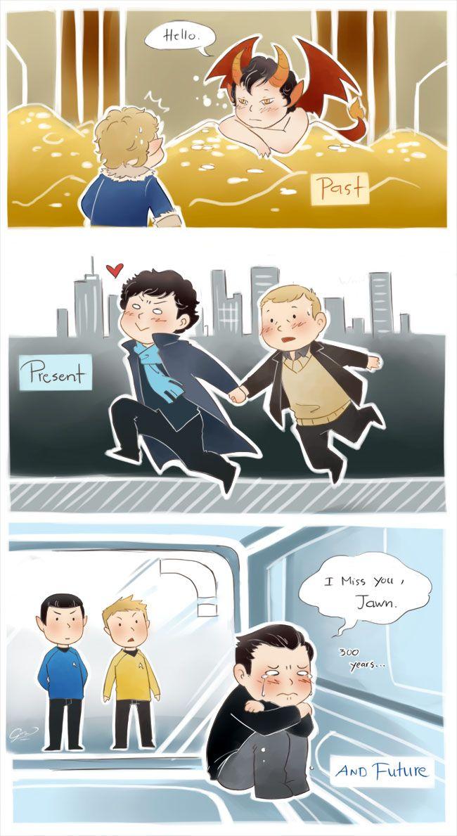 John and Sherlock through time. Aww. :,',',(