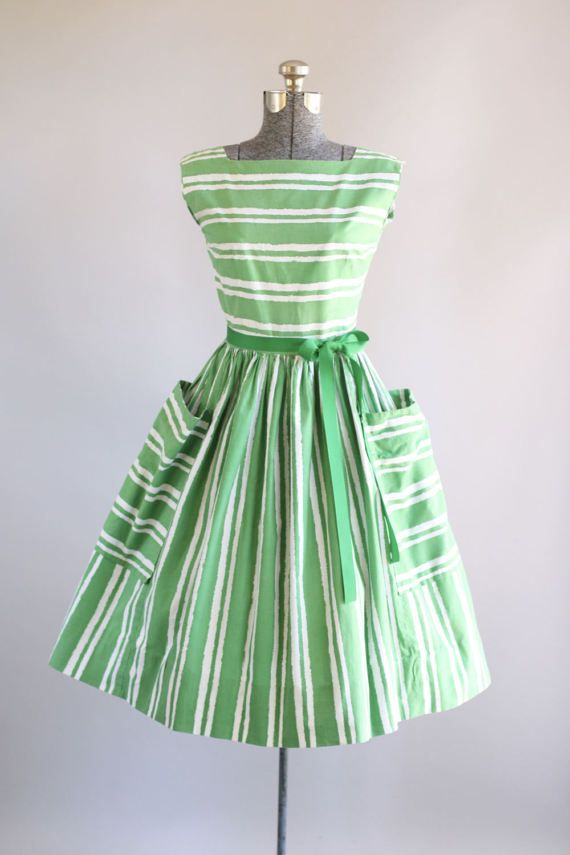 Vintage 1950s Dress / 50s Cotton Dress / Green and White Striped Dress w/ Oversized Pockets S