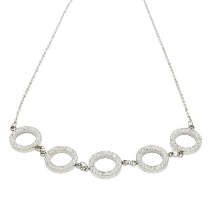 trendigt halsband i silver med strassringar