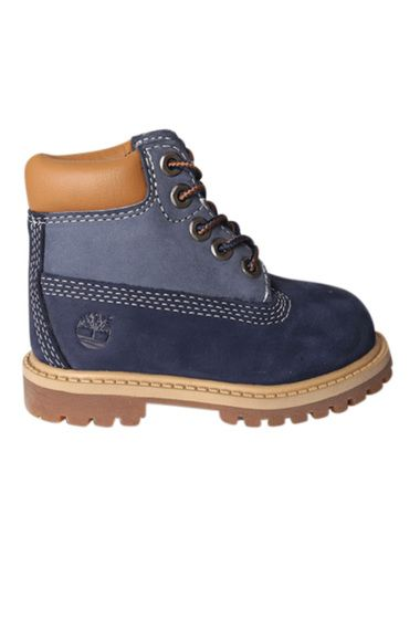 The original 6 inch premium Timberland boot downsized for your toddler and now available in a navy/brown color-way.