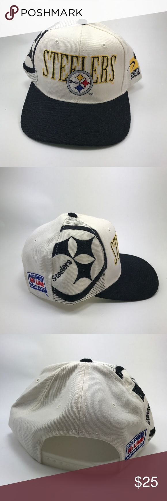 Pittsburgh Steelers Big Letter Snap Back Hat This is a very nice condition Steelers snap back hat. There are no stains, no fraying. No rips, and there are no sweat stains on the inner band. It is a wool blend hat. Please see pictures for better conditions. NFL Pro Line Accessories Hats