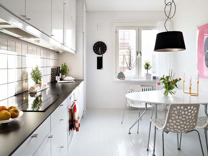 Interior: Scandinavian Kitchen With Round Dinning Table And Unique Pendant Lamp Ideas Wall Clock Decoration White Round Dining Table With Candle Decoration: Wonderful  Scandinavian Kitchen Ideas