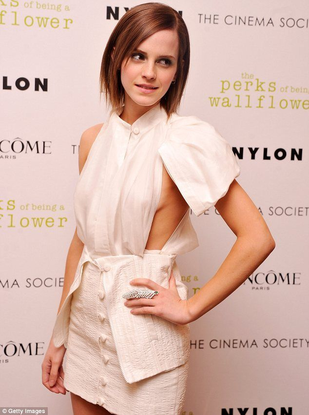 Peek-a-boob: Emma Watson showed some sideboob at a New York screening for The Perks of Being a Wallflower tonight