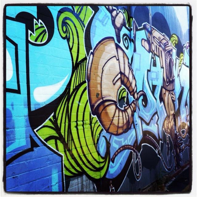 Street art graffiti in Leederville, Western Australia. Artist unknown.
