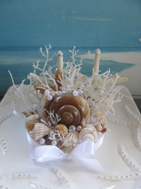 Seashell Starfish Wedding Cake Topper-Coral by CeShoreTreasures