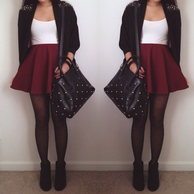White top - Burgundy skater skirt - Tights - Black Booties | Style inspiration