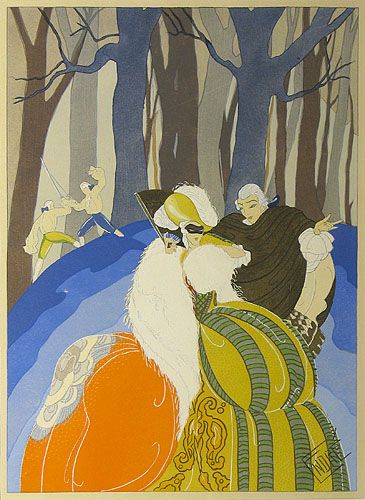 [Lovers in a forest] Endré. Lithograph with hand colouring, c.1920. Image 350 x 245 mm. Endré was an illustrator and print maker active in France in the 1920s and 30s. Working in the distinctive Art Deco style, his work was often used to illustrate the fashionable satirical journal 'Le Sourire'. Best-known for his series 'Le gigolo a travers les ages', Endré's work was often influenced by historical costume, erotica, fairy tales and mythology.