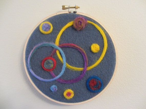 embroidery hoop art  wool  blue  yellow  home decor by FrostedPlum, $35.00