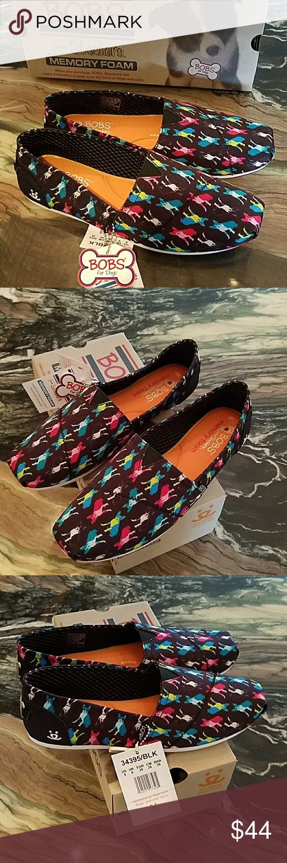 Bob's Memory Foam Double Vision Animal Loafers Skechers Memory Foam Double Vision Shoes  Memory Foam padded footbed  Rubber sole  Black background with vibrant colored dogs and cats on the fabric   Classic style with Skechers Comfort! Skechers Shoes Flats & Loafers