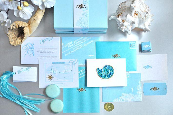 Ocean blue, sea wedding invitation & stationary