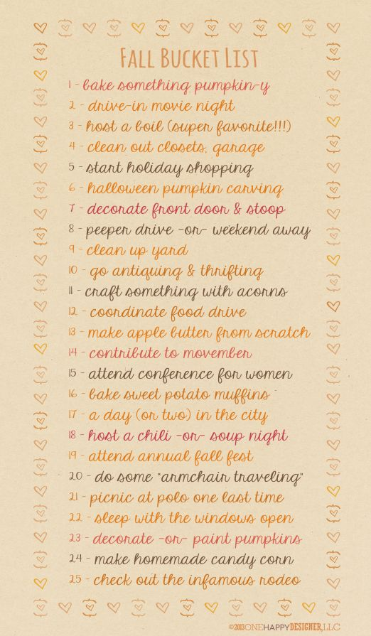 Fall Bucket List 2013…I dont know what all of these even are, but I really lik
