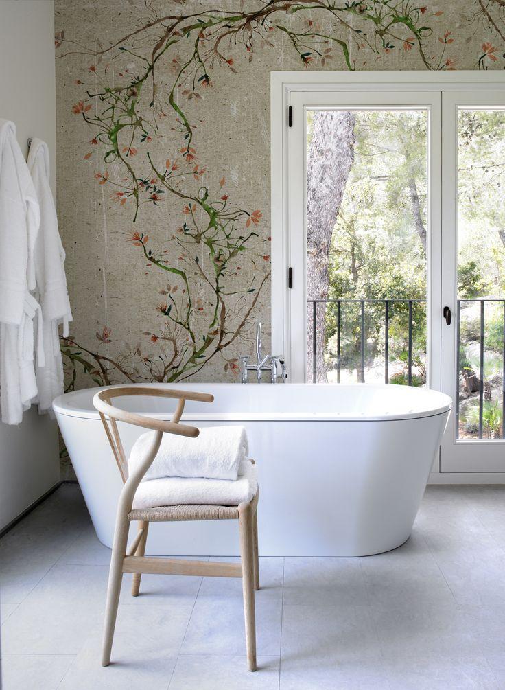 Bathroom floral mural