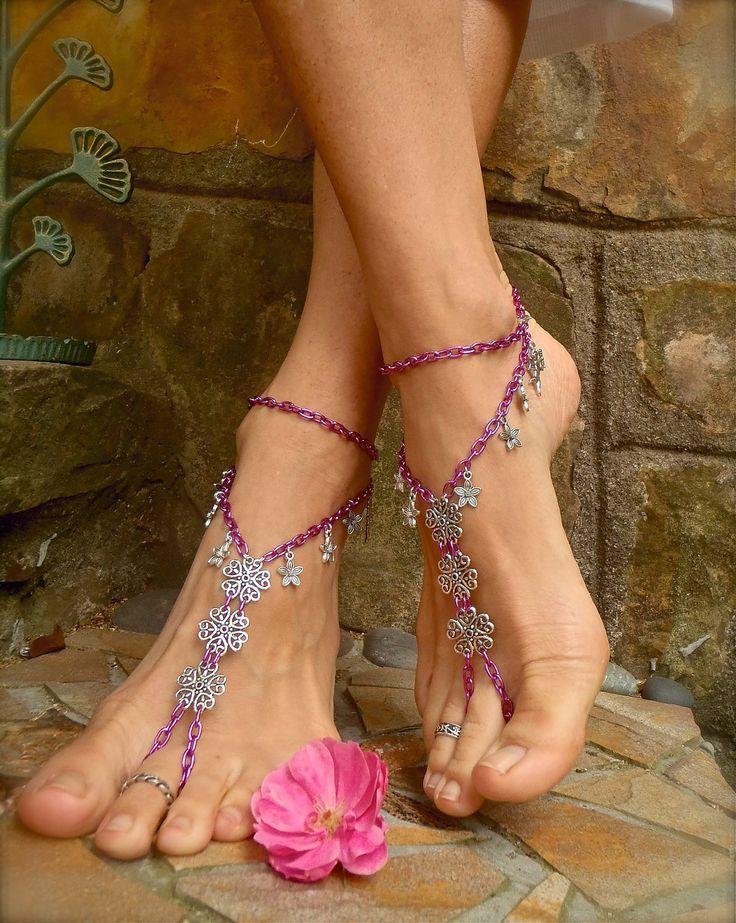 ANGELS BAREFOOT SANDALS pink chain bridal beach wedding dance yoga hippie boho chic beach anklet slave anklet. $54.00, via Etsy.