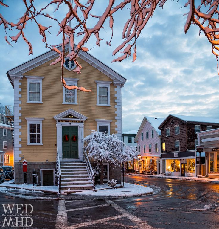 Snowy Branches over Old Town House Marblehead, MA
