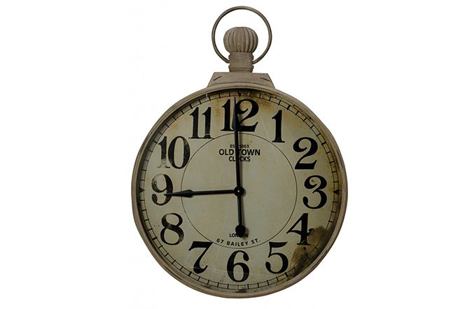 The Giant Fob Watch Clock is a cheeky twist on a traditional pocket fob watch. Featuring a distressed cream with fob detail the clock background is also distressed to give a sense of old world charm. Big strong numbers help this clock to make a clear statement in any living space. 63x99cm. €199  http://www.michaelmurphy.ie/product/giant-fob-watch-clock/