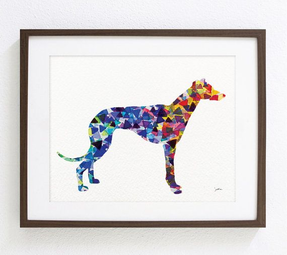 Greyhound Dog Art Watercolor Painting - 8x10 Archival Print - Dog Art Print - Yellow, Red, Blue - Geometric Dog Silhouette Art - Wall Decor