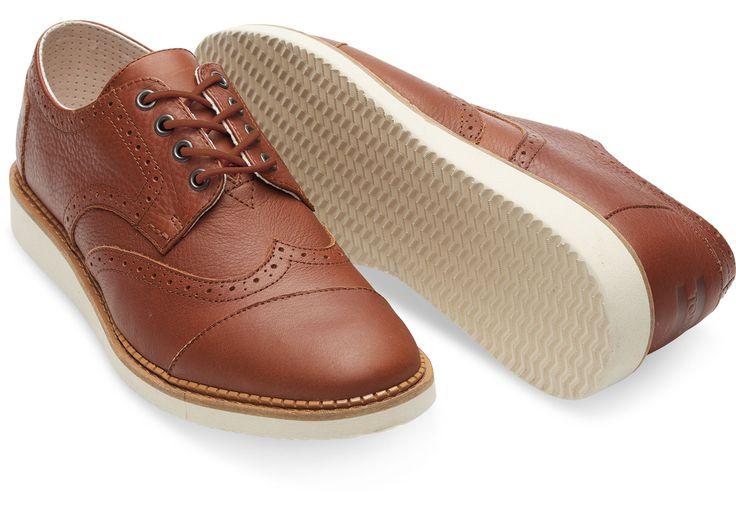 Brown Full Grain Leather Men's Brogues | TOMS