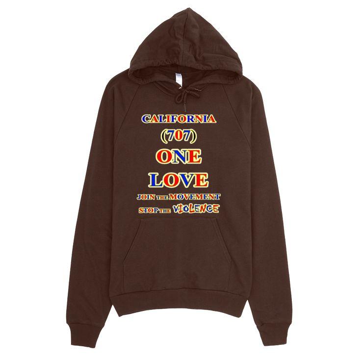 1094-H ... CALIFORNIA ... Area Code 707 ... ONE LOVE ... HOODIE