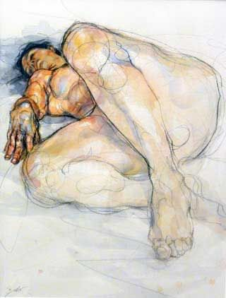 Artist: Sylvie Guillot; Marseille, France {figurative discreet nude female sketch woman anatomy drawing}
