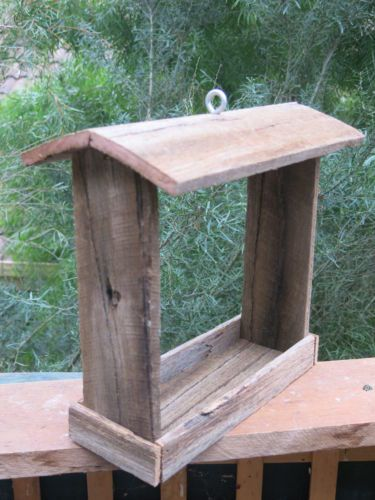 Handmade Reclaimed Recycled Hardwood Hanging Wooden Bird Feeder – Model A | eBay