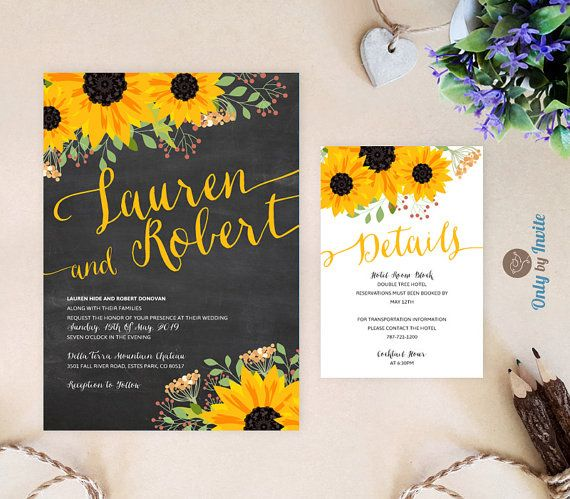 Rustic sunflower wedding invitation and reception by OnlybyInvite