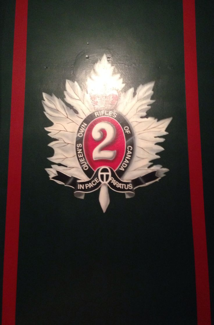 The Cap Badge of The Queen's Own Rifles of Canada in the Junior Ranks Mess.