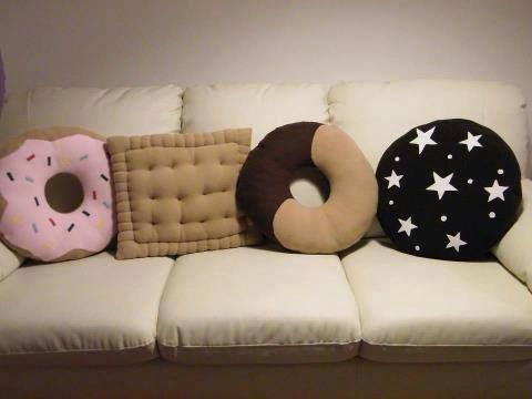 Donut and cookie throw pillows